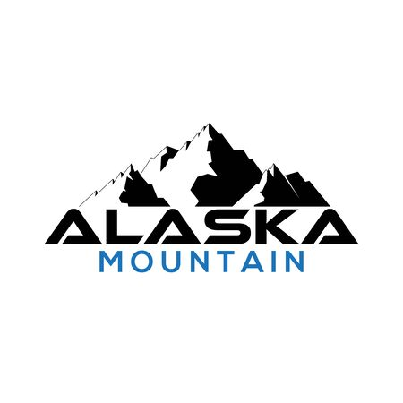 black alaska mountain logo illustration Çizim