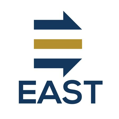 E letter logo with arrow direction