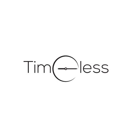 simple timeless logo with clock illustration