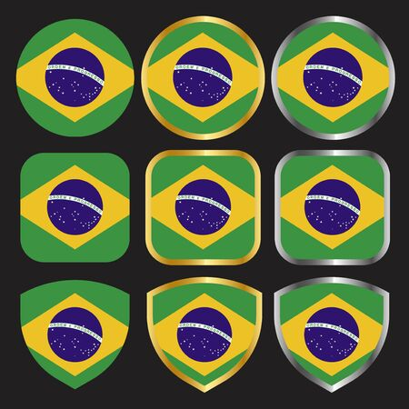 brazil flag vector icon set with gold and silver border