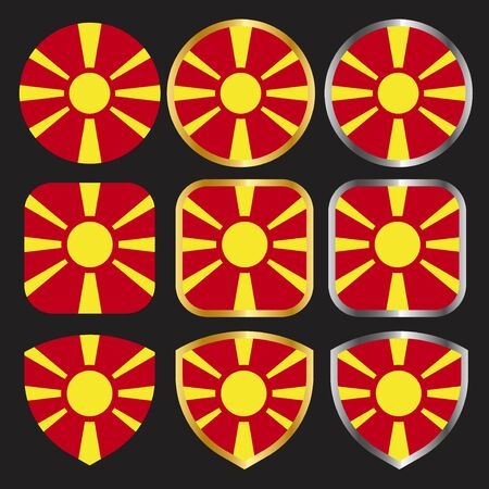 macedonia flag vector icon set with gold and silver border