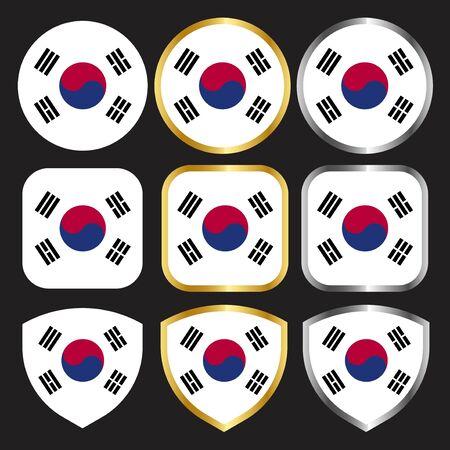 south koea flag vector icon set with gold and silver border Ilustração