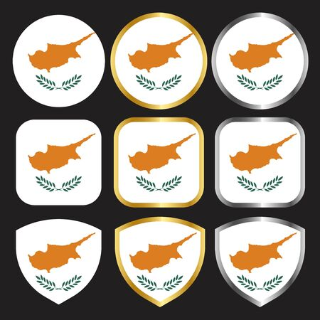cypruss flag vector icon set with gold and silver border