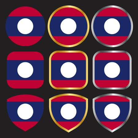laos flag vector icon set with gold and silver border