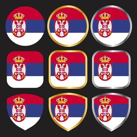 serbia flag vector icon set with gold and silver border