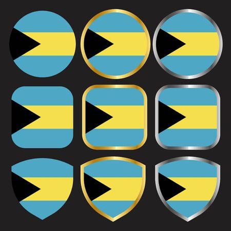 bahamas flag vector icon set with gold and silver border
