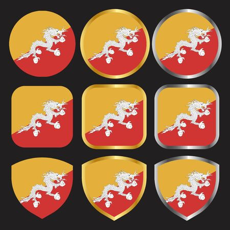 bhutan flag vector icon set with gold and silver border 向量圖像