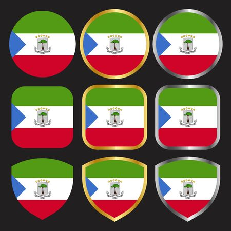 equatorial guinea flag vector icon set with gold and silver border