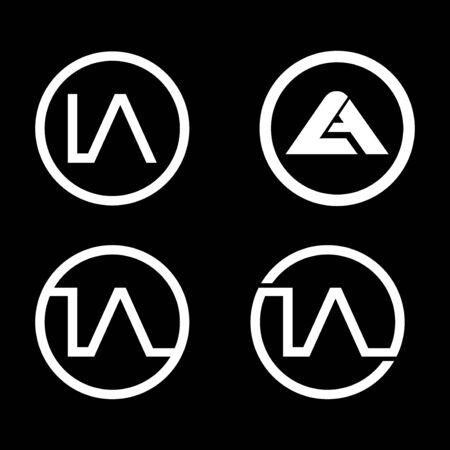 circle letter LA logo template bundle set Logo