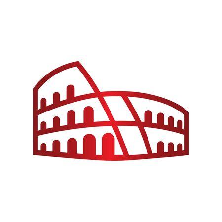 red roma coloseum logo symbol icon Stock Illustratie