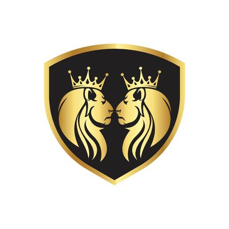 gold twin lions royal logo with black shield shapes and crown king