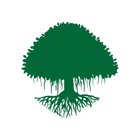 green banyan tree silhouette isolated on the white background-01
