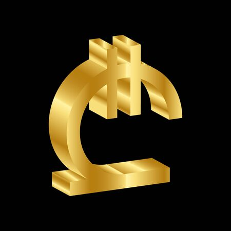gold 3D luxury lari currency symbol vector