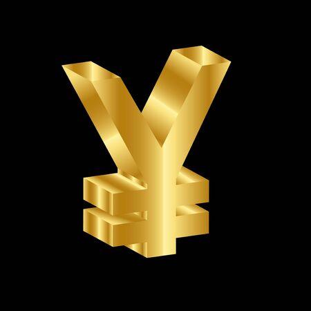 gold 3D luxury yen currency symbol vector 向量圖像