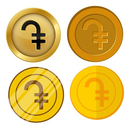 four different style gold coin with dram currency symbol vector set