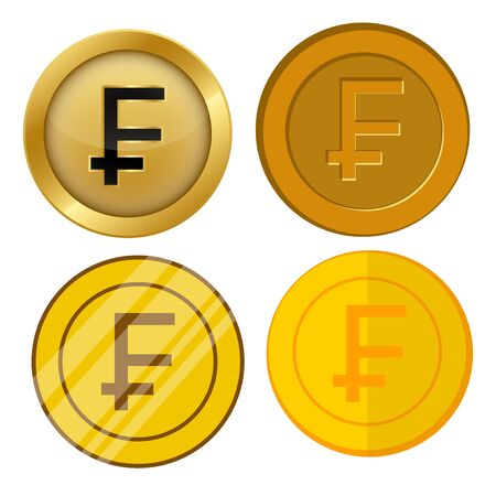 four different style gold coin with franc currency symbol vector set