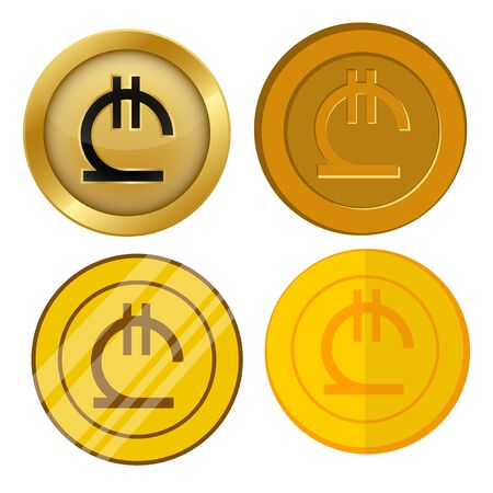 four different style gold coin with lari currency symbol vector set Çizim