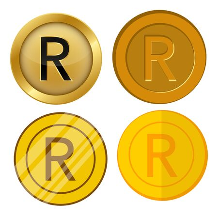 four different style gold coin with rand currency symbol vector set 일러스트