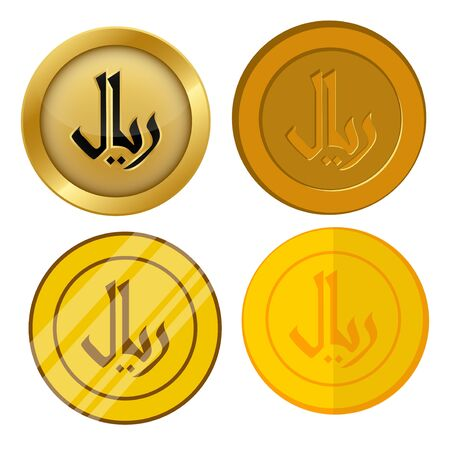 four different style gold coin with rial currency symbol vector set