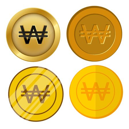 four different style gold coin with won currency symbol vector set