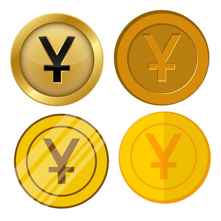four different style gold coin with yuan currency symbol vector set