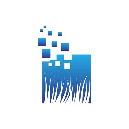 blue grass technology logo template Vectores