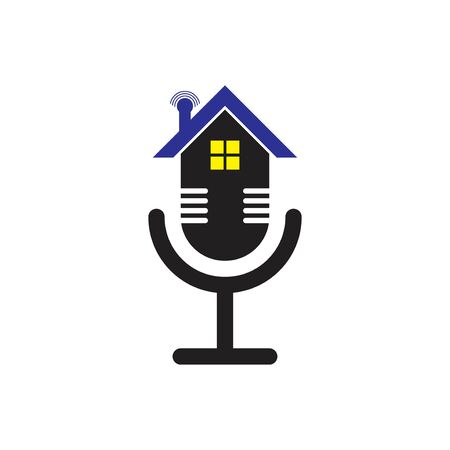 home podcast radio logo with microfone illustration Çizim