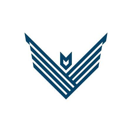letter V geometric hawk logo template