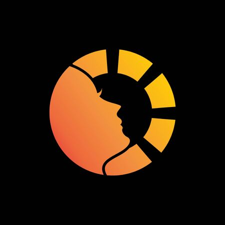 beautiful gradient sun women face logo concept
