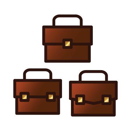brown business briefcase logo icon vector bundle set Çizim