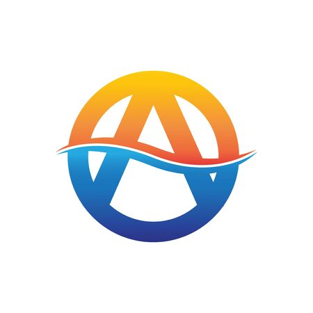 circle letter A logo with wave illustration