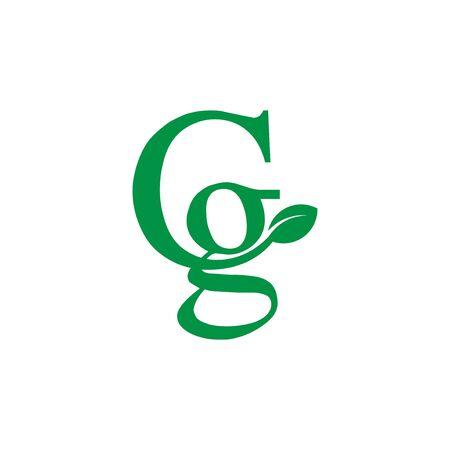 green letter CG logo with leaf illustration