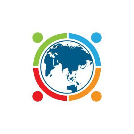world comunity logo with people and globe illustration