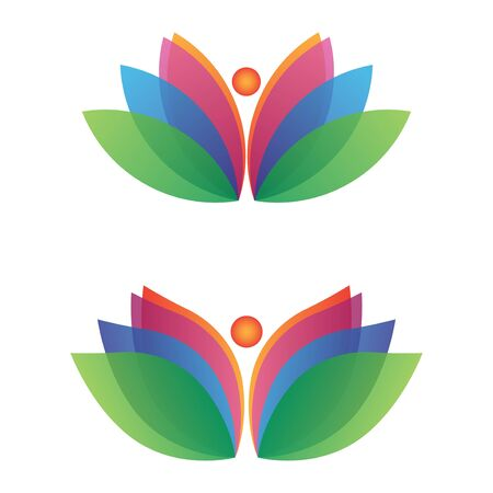 modern fulcolor lotus flower logo vector set Vectores