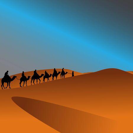 arabian camel caravan in the desert landscape illustration