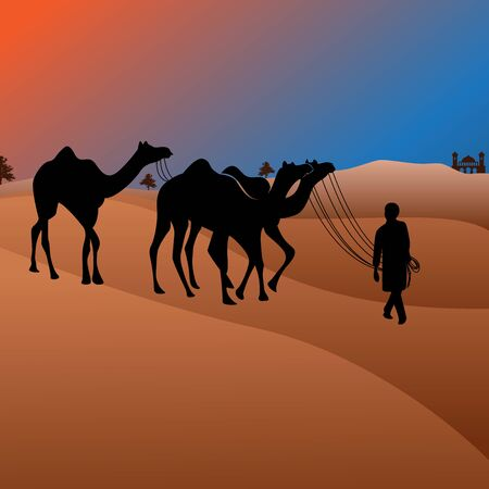 arabian man  journey with Camels through the desert at night vector illustration