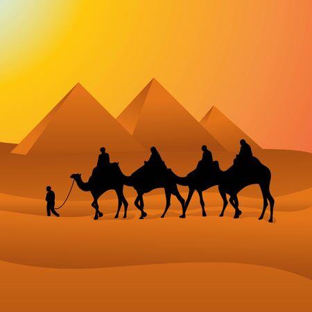 Camel Caravan Crossing Egypt Pyramid Desert Arabian vector Landscape Illustration  イラスト・ベクター素材