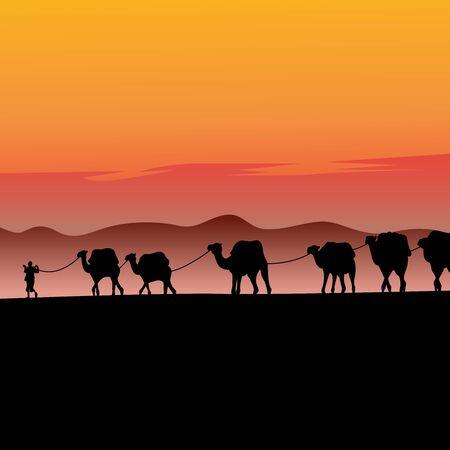 Camel caravan going through the desert vector illustrstion  イラスト・ベクター素材