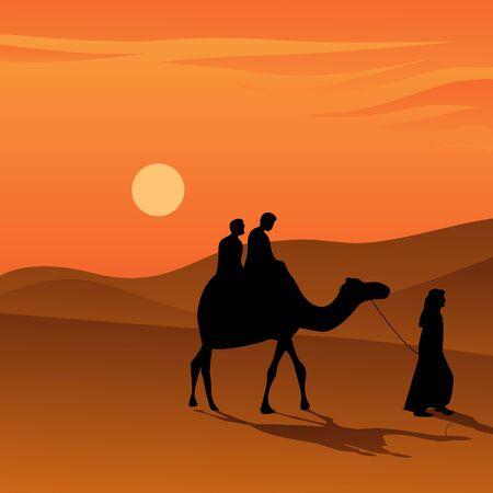 people riding camel during sunset on the desert vector illustration