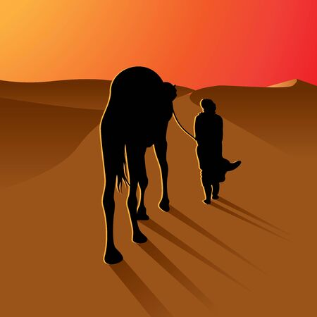 Silhouette arabic man with camel on beautiful sunset of desert  vector illustration