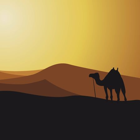 Silhouette camel in desert Nature panoramic sand landscape vector illustration 写真素材 - 149737738