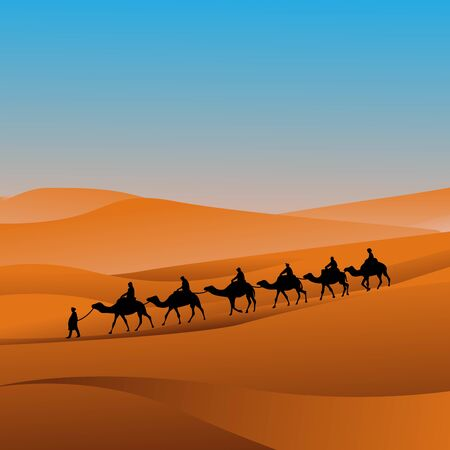silhouette caravan camel riders are hiking in the hot sun in the desert with sand mountain background vector illustration