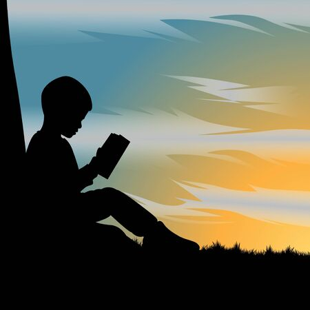 silhouette of kid reading a book under the tree during beautiful sunset