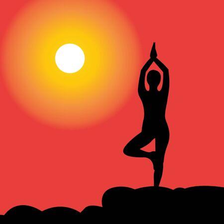 silhouette of women doing yoga during sunset vector illustration Ilustração