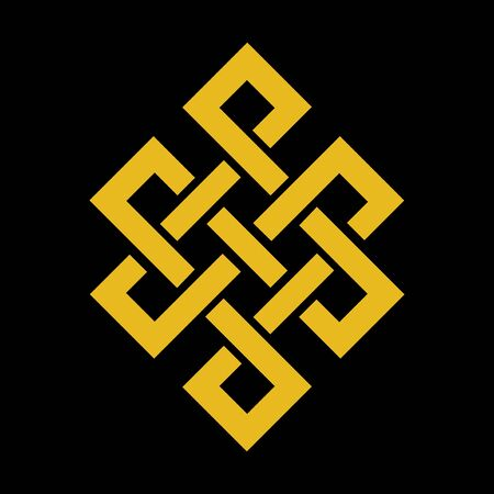 budhist endless knots gold budhism symbol vector template with black background