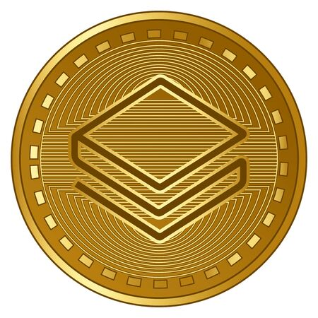 gold futuristic stratis cryptocurrency coin vector illustration