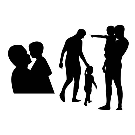 black silhouette father and son vector bundle set 스톡 콘텐츠 - 150351617