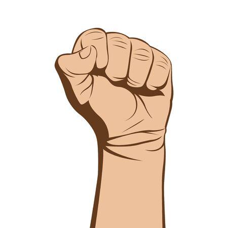 modern skintone color fist hand vector illustration Vektorgrafik