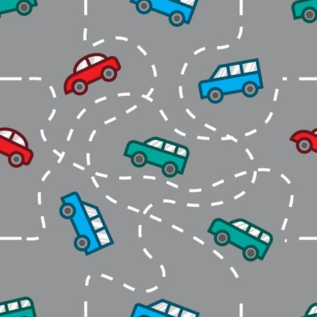 playful and colorful street traffic seamless pattern 02 스톡 콘텐츠 - 150351624