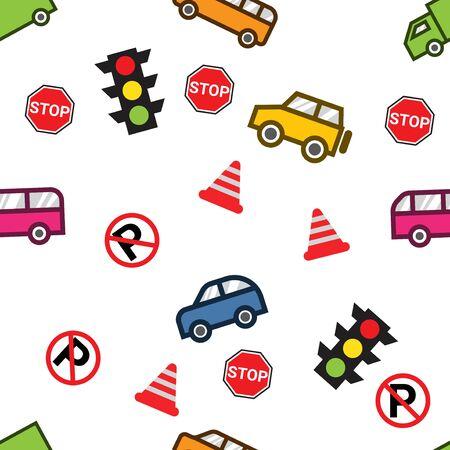 playful and colorful street traffic seamless pattern